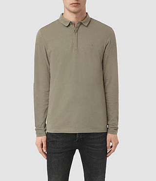 Hombres Brace Long Sleeved Polo Shirt (QUARRY GREY)