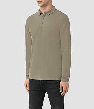 Hombres Brace Long Sleeved Polo Shirt (QUARRY GREY) - product_image_alt_text_2