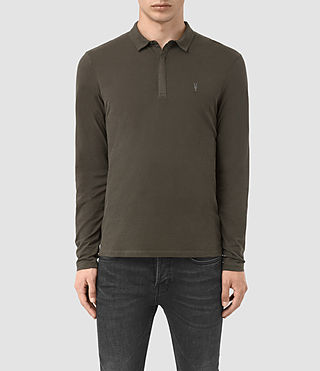 Hombres Brace Long Sleeved Polo Shirt (Pewter Brown)