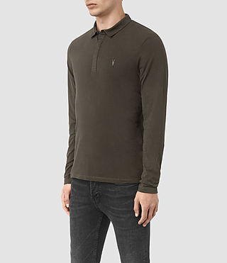 Men's Brace Long Sleeved Polo Shirt (Pewter Brown) - product_image_alt_text_3
