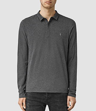 Hombres Brace Long Sleeved Polo Shirt (Charcoal Marl)
