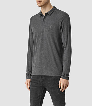 Hommes Brace Long Sleeved Polo Shirt (Charcoal Marl) - product_image_alt_text_2