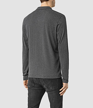 Men's Brace Long Sleeved Polo Shirt (Charcoal Marl) - product_image_alt_text_3