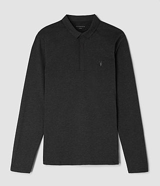 Hommes Brace Long Sleeved Polo Shirt (Charcoal Marl) - product_image_alt_text_4