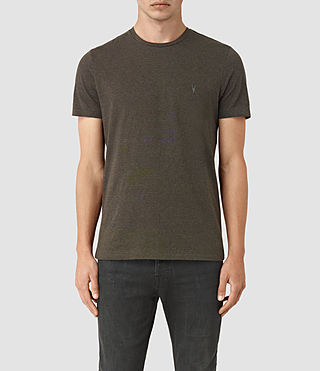 Hombres Baltis Tonic Crew T-Shirt (CHARCOAL MRL/BROWN) -