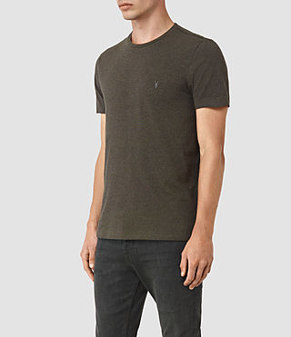 Uomo Baltis Tonic Crew T-Shirt (CHARCOAL MRL/BROWN) - product_image_alt_text_2