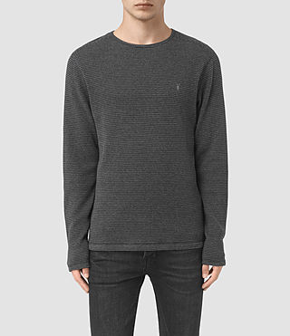 Uomo Naviad Long Sleeve Crew T-Shirt (CHARCOAL MARL/GREY)