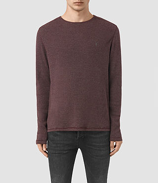 Hombres Naviad Long Sleeve Crew T-Shirt (OXBLOOD/GREY MARL)