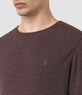 Herren Naviad Long Sleeve Crew T-Shirt (OXBLOOD/GREY MARL) - product_image_alt_text_2