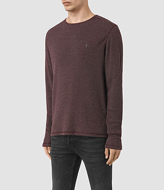 Herren Naviad Long Sleeve Crew T-Shirt (OXBLOOD/GREY MARL) - product_image_alt_text_3