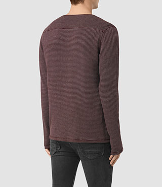 Herren Naviad Long Sleeve Crew T-Shirt (OXBLOOD/GREY MARL) - product_image_alt_text_4