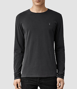 Mens Brace Long Sleeved Tonic Crew T-Shirt (Washed Black) - product_image_alt_text_1