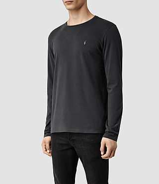 Mens Brace Long Sleeved Tonic Crew T-Shirt (Washed Black) - product_image_alt_text_2