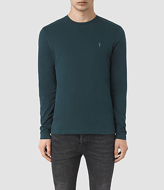 Hombres Brace Long Sleeve Tonic Crew T-Shirt (Petrol Blue)