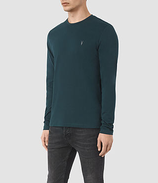 Hombres Brace Long Sleeve Tonic Crew T-Shirt (Petrol Blue) - product_image_alt_text_2