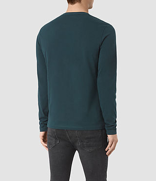 Hombres Brace Long Sleeve Tonic Crew T-Shirt (Petrol Blue) - product_image_alt_text_3