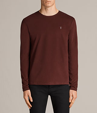 Mens Brace Long Sleeve Tonic Crew T-Shirt (BURNT RED) - Image 1