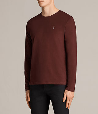 Mens Brace Long Sleeve Tonic Crew T-Shirt (BURNT RED) - Image 3