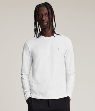 Hombres Brace Long Sleeve Tonic Crew T-Shirt (Optic White)