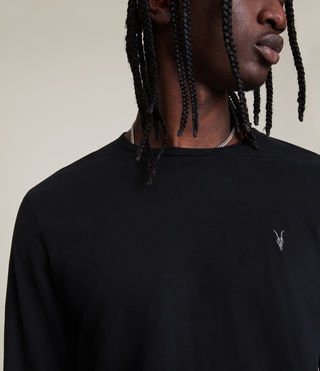 Uomo Brace Long Sleeve Tonic Crew T-Shirt (Jet Black) - product_image_alt_text_2