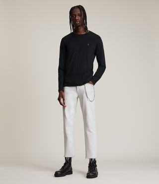 Uomo Brace Long Sleeve Tonic Crew T-Shirt (Jet Black) - product_image_alt_text_3