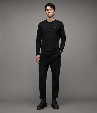 Uomo Brace Long Sleeve Tonic Crew T-Shirt (Jet Black) - product_image_alt_text_3
