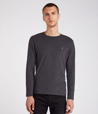 Hombres Brace Long Sleeve Tonic Crew T-Shirt (Charcoal Marl)