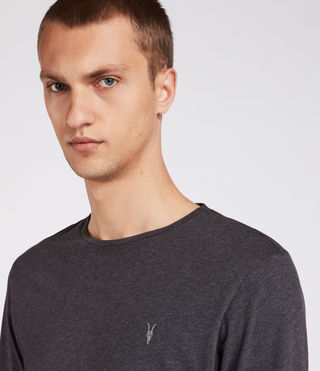 Mens Brace Long Sleeve Tonic Crew T-Shirt (Charcoal Marl) - Image 2
