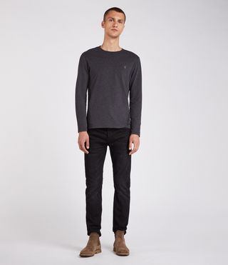 Mens Brace Long Sleeve Tonic Crew T-Shirt (Charcoal Marl) - Image 3