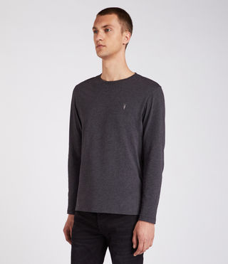Mens Brace Long Sleeve Tonic Crew T-Shirt (Charcoal Marl) - Image 4