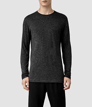 Mens Gendry Long Sleeved Crew T-shirt (Charcoal/Black)