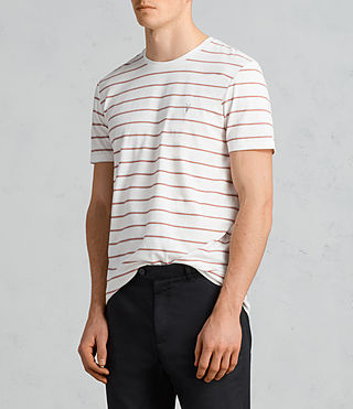 Mens Tonic Dean Crew T-Shirt (CHALK WHITE/RED) - Image 3