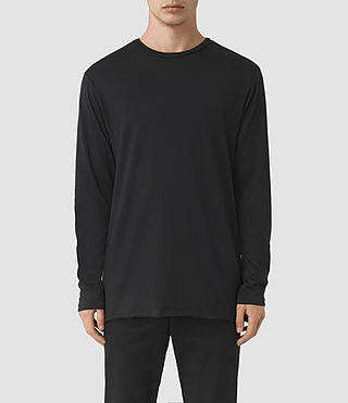 Hombres Perrin Long Sleeve Crew T-shirt (Jet Black)