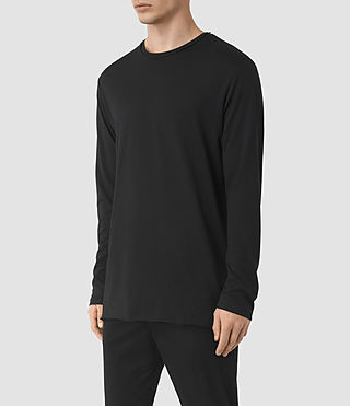 Men's Perrin Long Sleeve Crew T-shirt (Jet Black) - product_image_alt_text_3