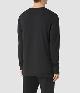 Men's Perrin Long Sleeve Crew T-shirt (Jet Black) - product_image_alt_text_4