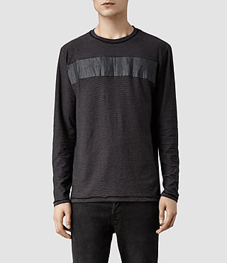Mens Diagon Long Sleeved Crew T-shirt (Charcoal/Black)