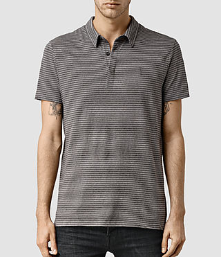 Mens Dual Stripe Polo (PUTTY/ CHARCOAL)