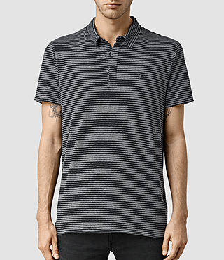 Mens Dual Stripe Polo (JET BLK/LIGHT GRY)