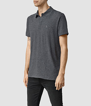 Mens Dual Stripe Polo (JET BLK/LIGHT GRY) - product_image_alt_text_2