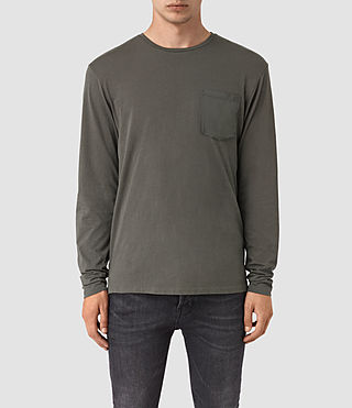 Hombres Apollo Long Sleeve Crew T-Shirt (Slate Grey)