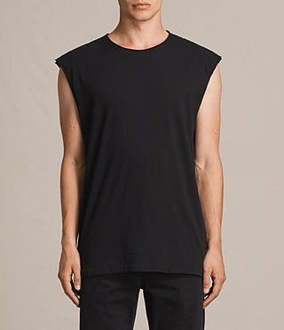 Hommes Tehson Sleeveless Crew T-Shirt (Jet Black) -