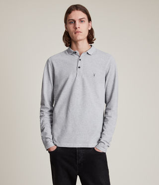 Men's Reform Long Sleeve Polo Shirt (Grey Marl) - Image 1