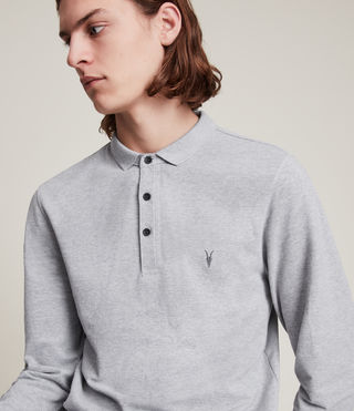 Men's Reform Long Sleeve Polo Shirt (Grey Marl) - Image 2