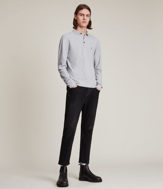 Hommes Reform Long Sleeve Polo Shirt (Grey Marl) - product_image_alt_text_3