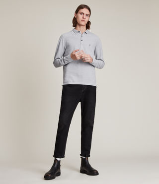 Hommes Reform Long Sleeve Polo Shirt (Grey Marl) - product_image_alt_text_4