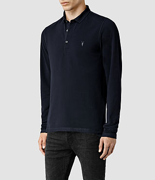 Mens Reform Long Sleeved Polo Shirt (Ink) - Image 2