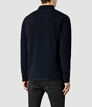 Mens Reform Long Sleeved Polo Shirt (Ink) - Image 3