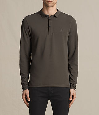 Hombre Reform Long Sleeve Polo Shirt (Military Green) - product_image_alt_text_1