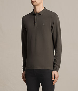 Hombre Reform Long Sleeve Polo Shirt (Military Green) - product_image_alt_text_3