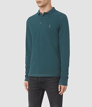 Uomo Reform Long Sleeve Polo Shirt (Midnight Blue) - product_image_alt_text_3